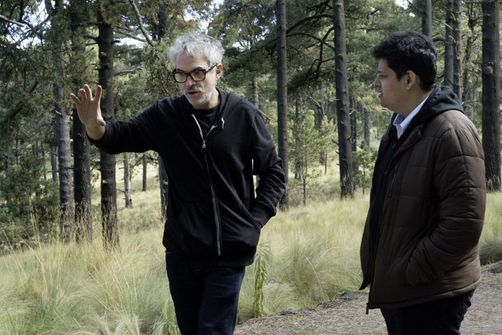"Mentor Alfonso Cuarón (left) was ""very open"" as he answered Protégé Chaitanya Tamhane's questions during the filming of Roma"