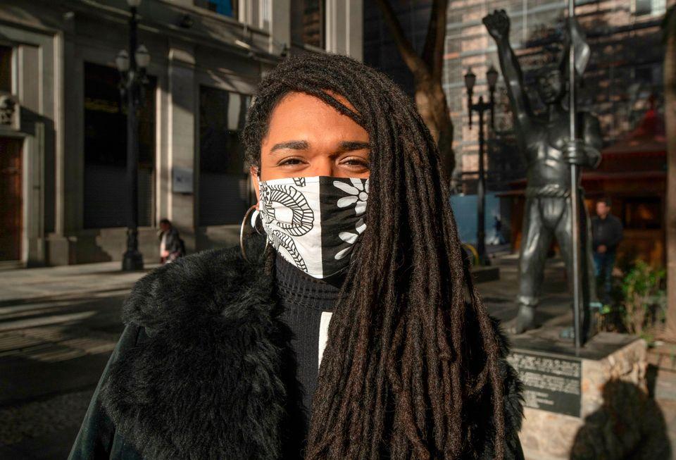 A deputada Erica Malunguinho, em manifestação antirracista, em São Paulo, durante...