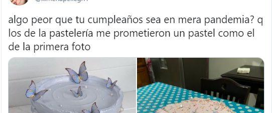 Captura del tuit con las dos tartas que se ha hecho viral en
