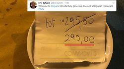 50 centesimi di sconto su 295,50: la foto del corrispondente WSJ da un ristorante
