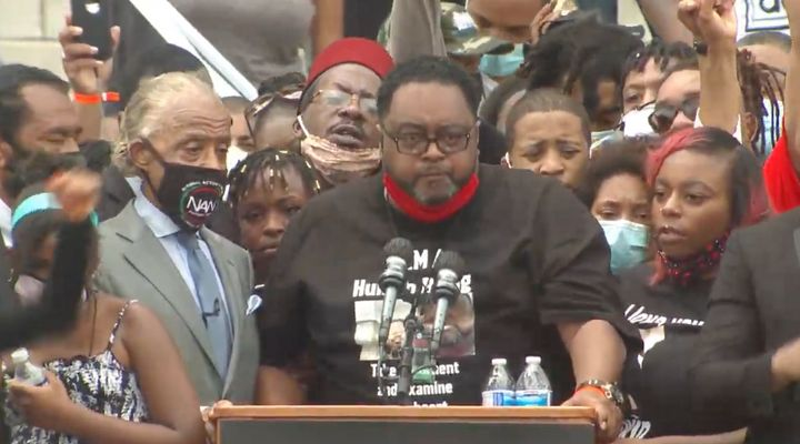 Jacob Blake's father speaking, with Rev. Al Sharpton to his left