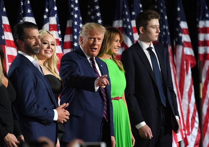 President Donald Trump with his wife and children on the final night of the Republican National Convention. During the conven