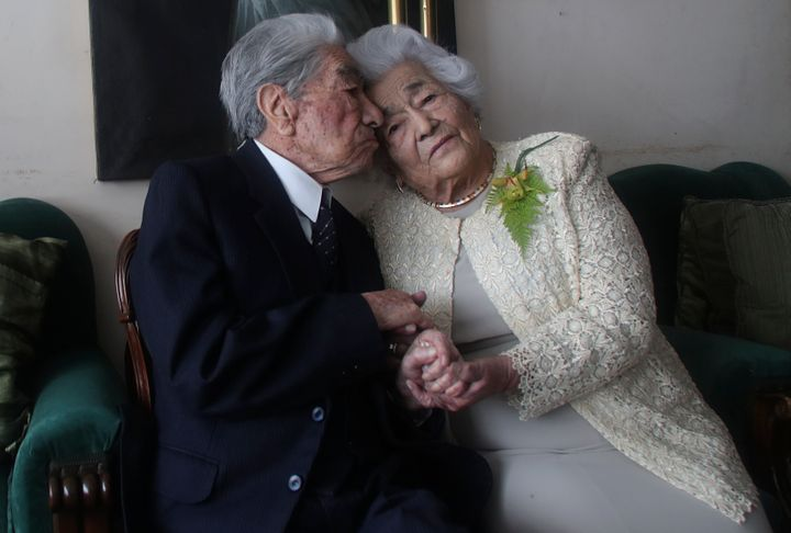 Married couple Julio Mora Tapia, 110, and Waldramina Quinteros, 104, both retired teachers, have been recognized by the Guinn