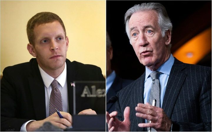 Holyoke Mayor Alex Morse's (left) challenge against House Ways and Means Chairman Richard Neal, right, has prompted millions