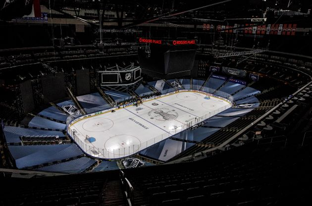 Players prepare for a skate at the NHL hockey playoffs venue in Edmonton on Friday as the NHL takes a...