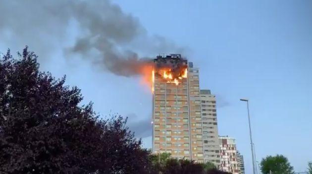 Incendio en una torre de Hortaleza