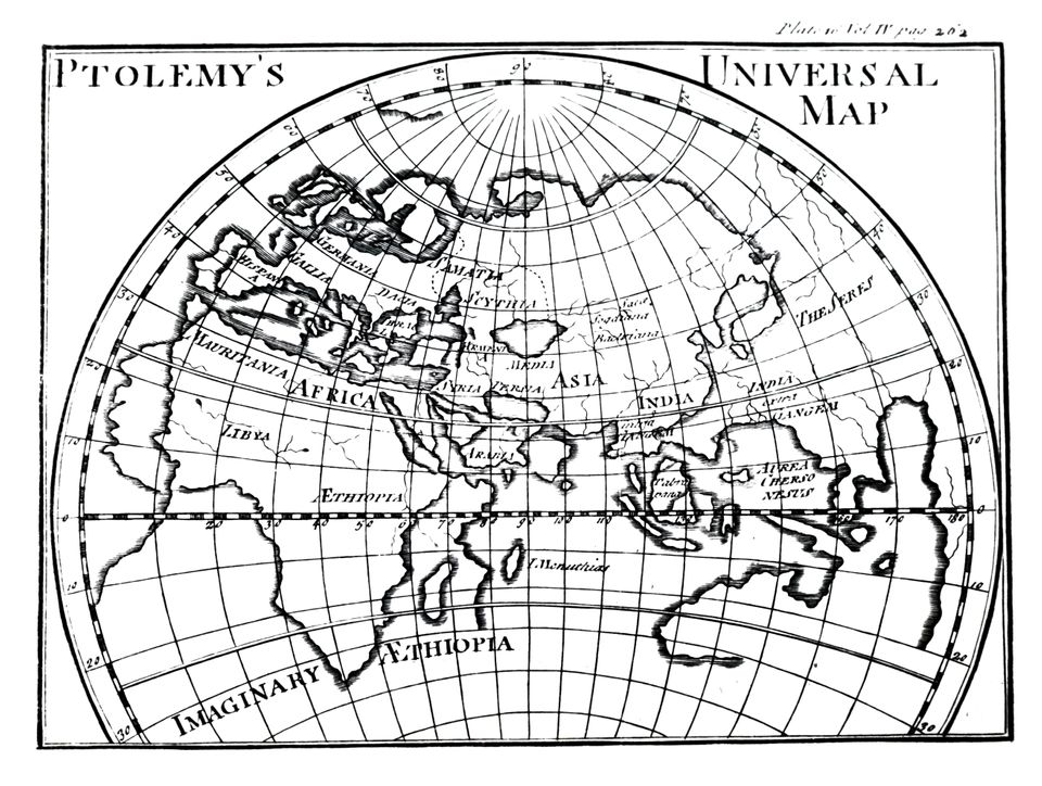 A map of the world known by Ptolemy as shown on a Mercator projection. Dated 18th century. (Photo by: Universal History Archive/Universal Images Group via Getty Images)