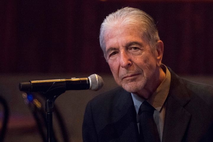 """In this Thursday, Sept 18, 2014, file photo, Leonard Cohen attends a listening party for his new album """"Popular Problems"""" in"""