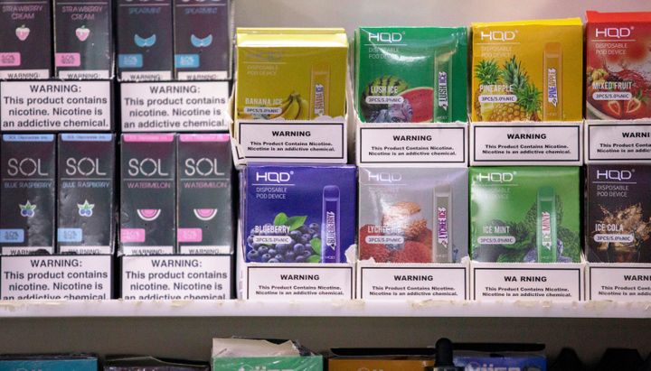 Disposable vape devices on display at a store in Brooklyn, New York, in February.