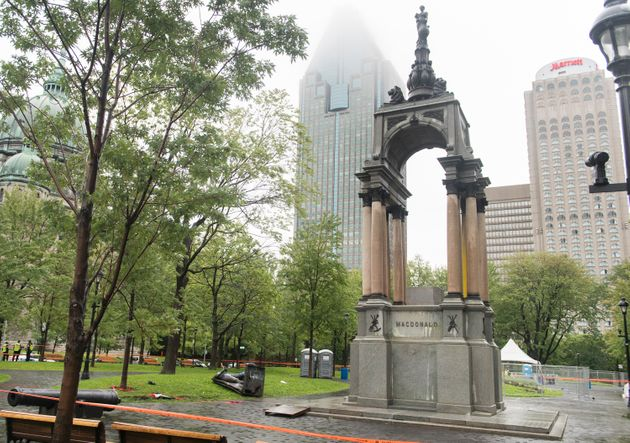 The statue of Sir John A. MacDonald is shown torn down following a demonstration in Montreal on