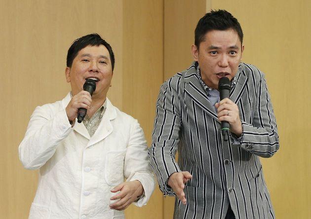 お笑いコンビ「爆笑問題」の田中裕二さん(左)、太田光さん=2015年10月4日撮影