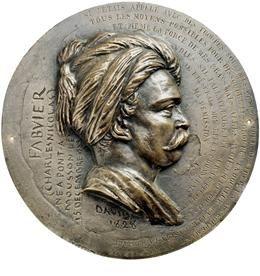 Τιμητικό χάλκινο μετάλλιο του 1828, του καλλιτέχνη David d'Anger, με κεφαλή του Φαβιέρου, Συλλογή ΕΕΦ