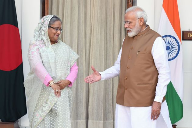 Prime Minister Narendra Modi and Bangladesh's Prime Minister Sheikh Hasina prior to a meeting in New...