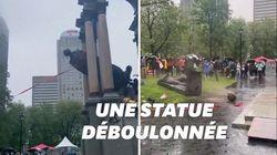 Une statue déboulonnée à Montréal en pleine manifestation