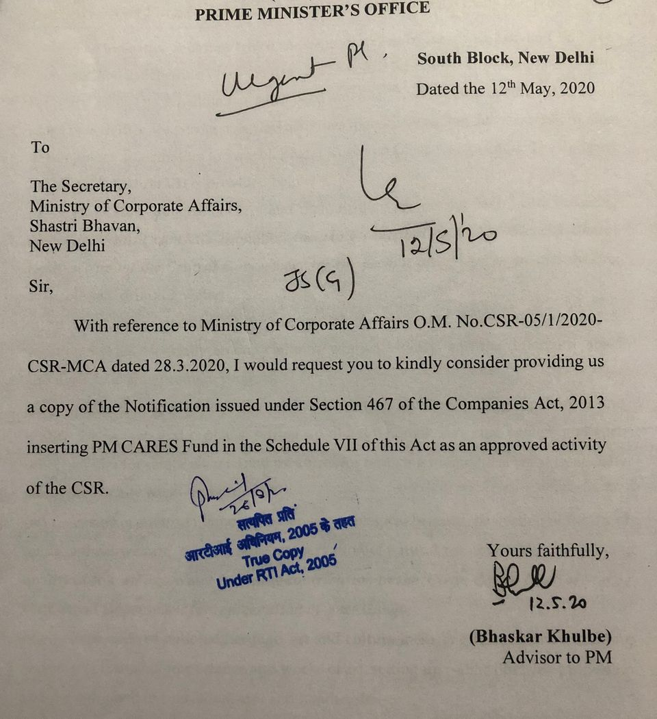 Letter written by Bhaskar Khulbe, Advisor to PM, to Corporate Affairs secretary on 12 May 2020. Accessed...
