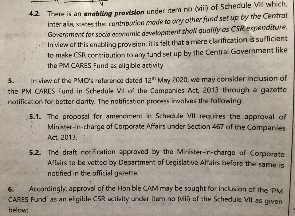 Internal notes of the Ministry of Corporate Affairs show the officials felt the existing clarification...