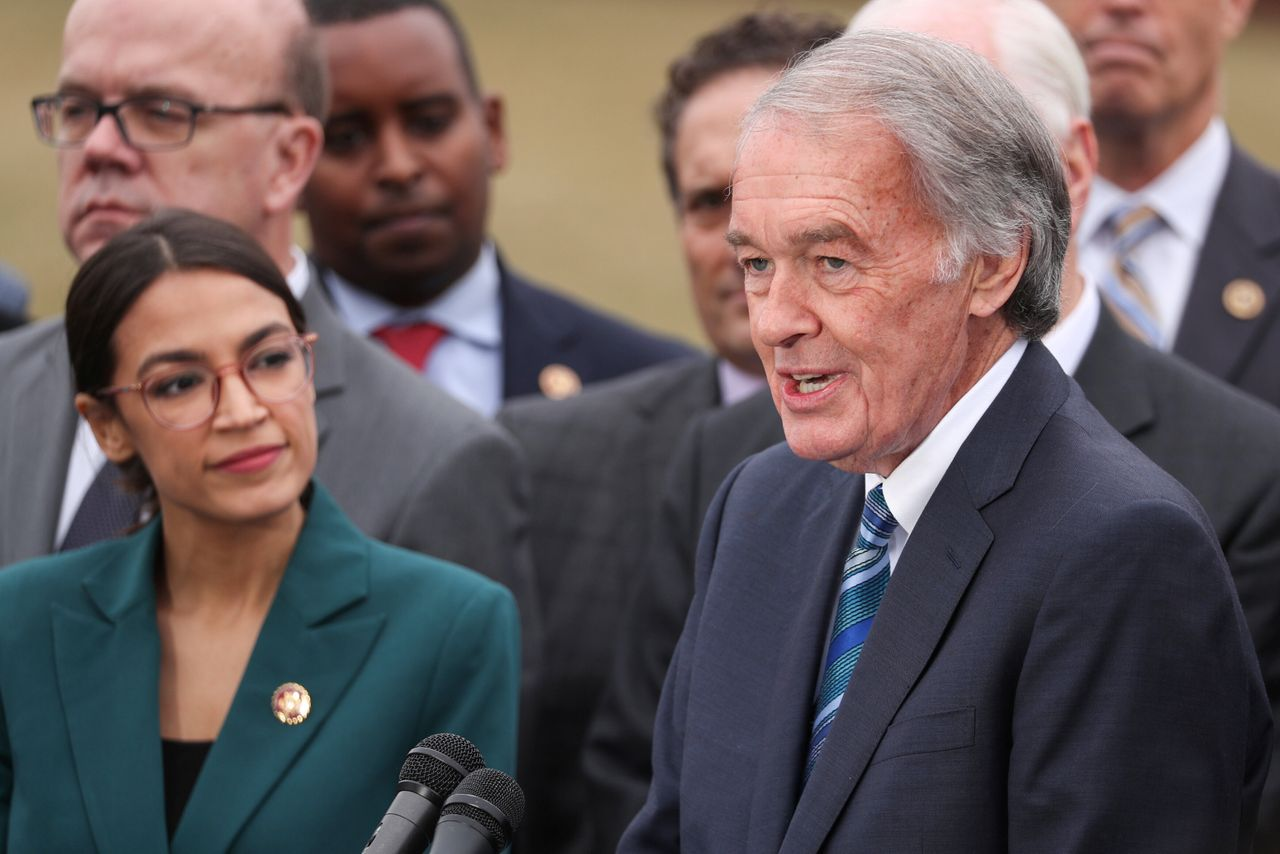 Rep. Alexandria Ocasio-Cortez (D-N.Y.) and Markey hold a news conference for their proposed Green New Deal in February 2019. Markey's reelection campaign has run an ad touting Ocasio-Cortez's endorsement of him throughout the state.