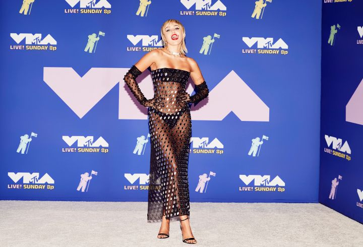 NEW YORK, NEW YORK - AUGUST 30: (EDITORIAL USE ONLY) Miley Cyrus attends the 2020 MTV Video Music Awards, broadcast on Sunday