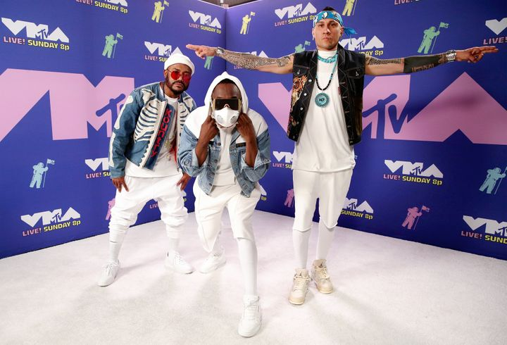 NEW YORK, NEW YORK - AUGUST 30: (L-R) apl.de.ap, will.i.am, and Taboo attend the 2020 MTV Video Music Awards, broadcast on Su