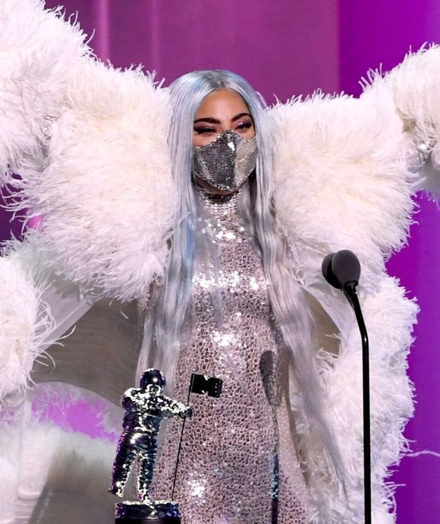 Lady Gaga accepts the Artist of the Year award onstage during the 2020 MTV Video Music