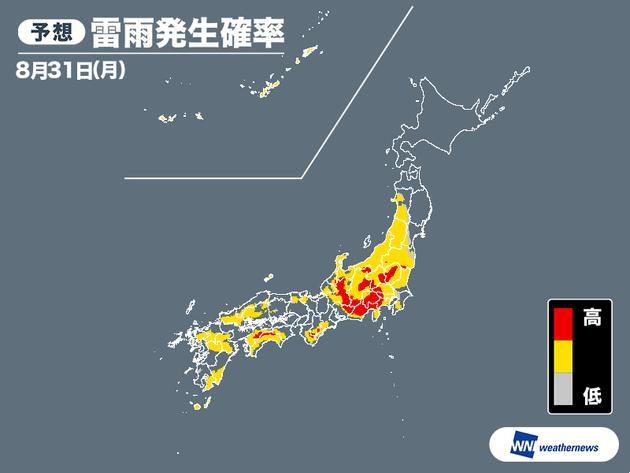 雷雨発生確率 8月31日(月)