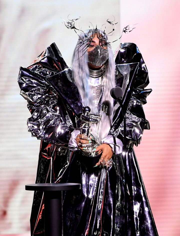 Lady Gaga accepts the MTV Tricon Award during the 2020 MTV Video Music Awards.