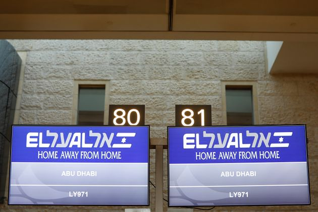 Η πτήση 971 της κρατικής αεροπορικής εταιρείας Ελ-Αλ από το Τελ Αβίβ προς Αμπού Ντάμπι είναι η πρώτη στην Ιστορία των διμερών σχέσεων Ισραήλ-ΗΑΕ, αλλά και η πρώτη στην ιστορία της ισραηλινής πολιτικής αεροπορίας.(Nir Elias/Pool Photo via AP)