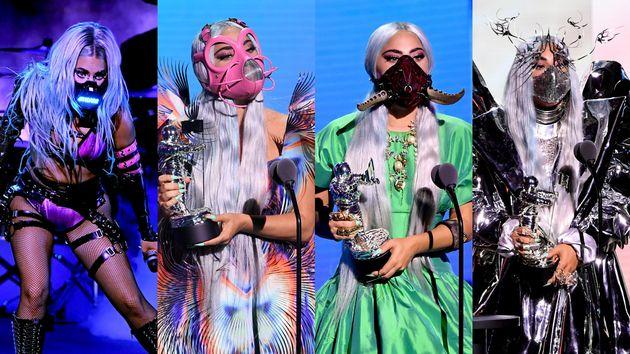 Lady Gaga luciendo distintas mascarillas en los VMA