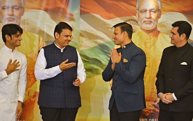 Maharashtra Chief Minister Devendra Fadnavis, actor Vivek Oberoi, producer Sandip Ssingh and director...