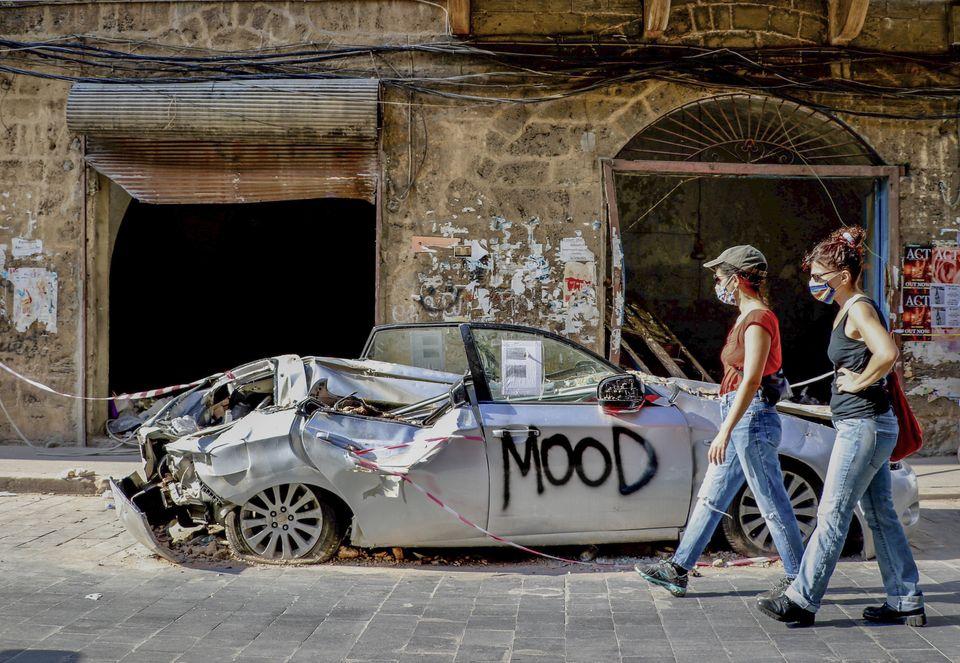 À Beyrouth, le 13 août 2020, une image qui reflète l'état d'esprit de la population après l'explosion au port qui a dévasté une partie de la ville, tué au moins 181 personnes et fait plus de 6500 blessés.