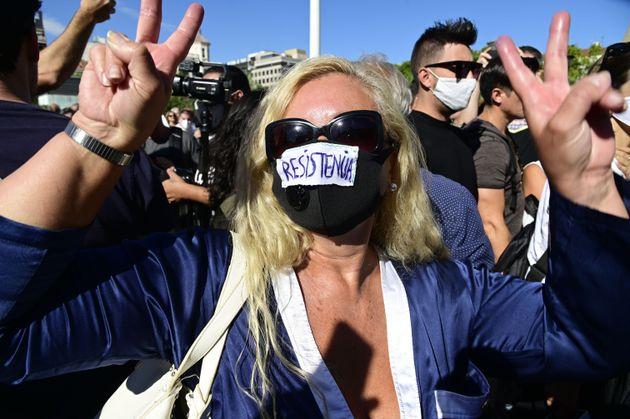 Una manifestante anti mascarilla, el pasado 16 de agosto, en la protesta de