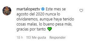 El comentario de Marta López en la publicación de Efrén
