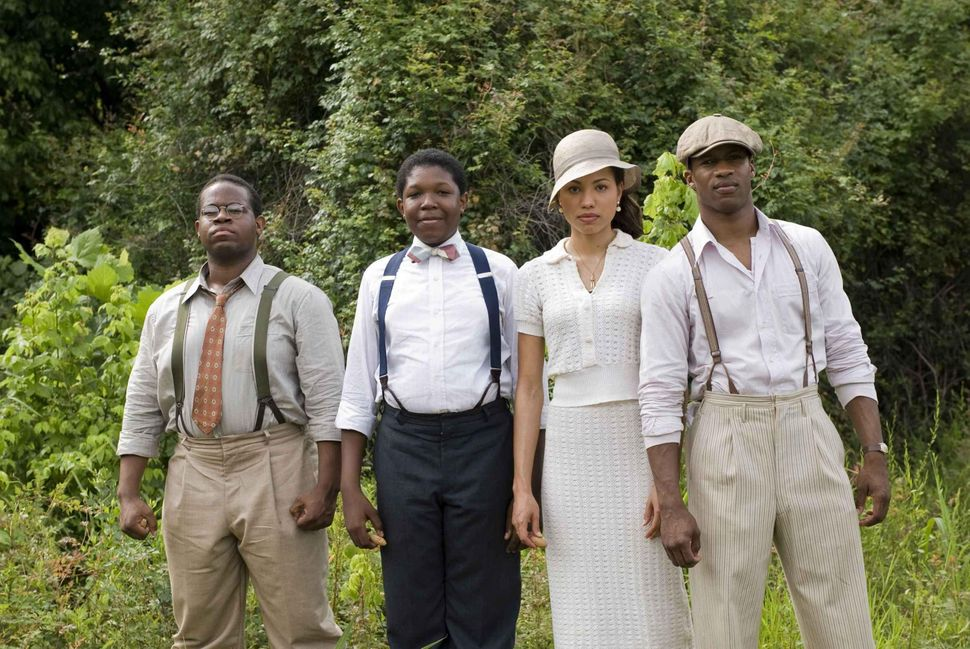 "Jermaine Williams, Denzel Whitaker, Jurnee Smollett and Nate Parker in ""The Great Debaters."""