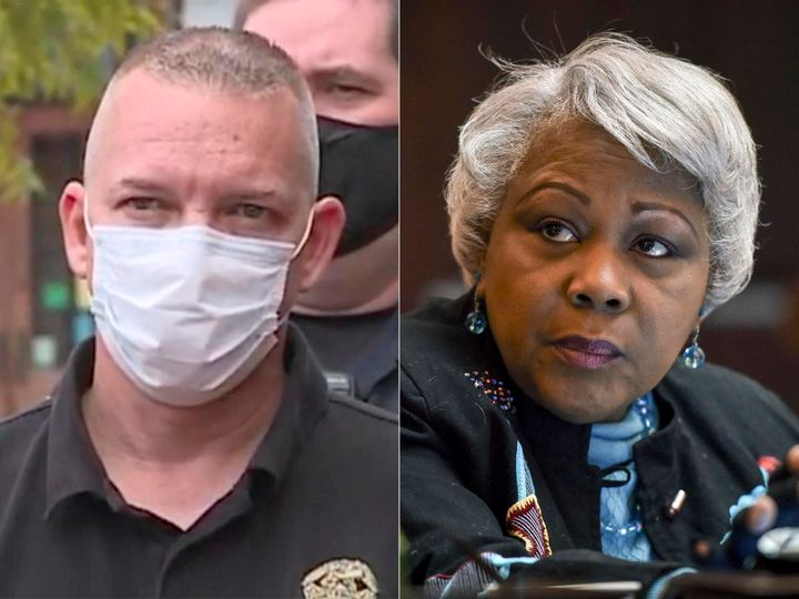 Left: Sgt. Kevin McGee. Right: Virginia state Senator Louise L. Lucas.