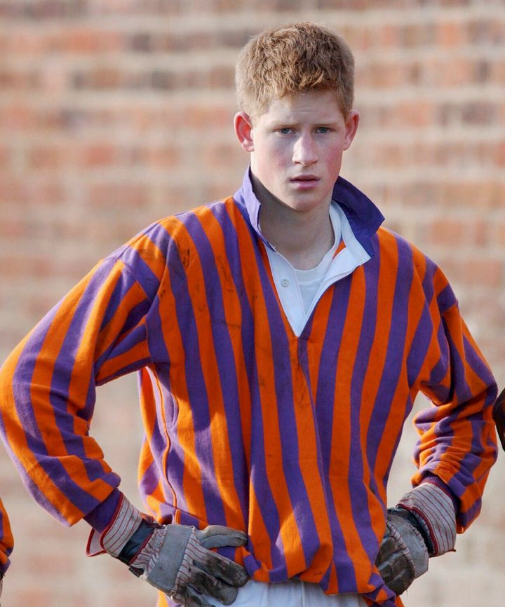 Prince Harry wearing his rugby shirt as a student at Eton College in 2001, when he was 17.