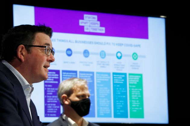 Victoria Premier Daniel Andrews speaks to the media at the daily briefing on August 31, 2020 in Melbourne,