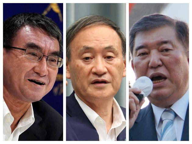 左から、河野太郎防衛相、菅義偉官房長官、石破茂元幹事長
