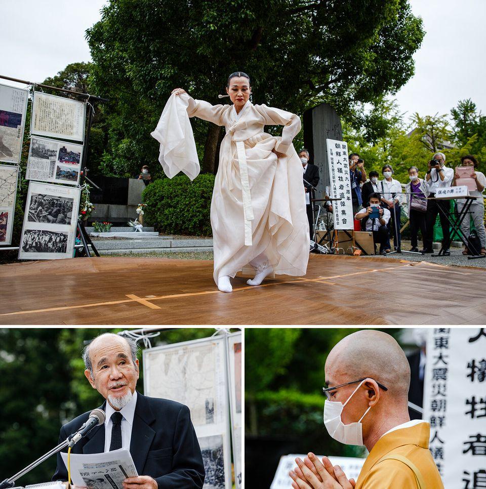 (上から右回り)「鎮魂の舞」を披露するの韓国伝統舞踊家の金順子さん、経を唱える泉福寺の岡田隆法住職、開式のことばを述べる関東大震災朝鮮人犠牲者追悼式典の宮川泰彦実行委員長
