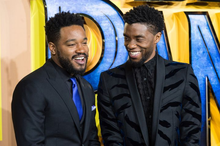 "Director Ryan Coogler and actor Chadwick Boseman arrive for the European film premiere of ""Black Panther"" in London on Feb. 8"