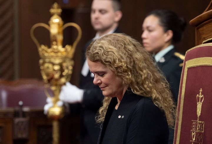 Governor General Julie Payette nods giving royal assent of a government bill during a ceremony in the Senate chamber in Ottawa on Dec. 12, 2019.