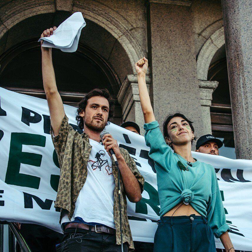 Vincent Boisclair lors de la marche pour le climat de Sherbrooke le 27 septembre