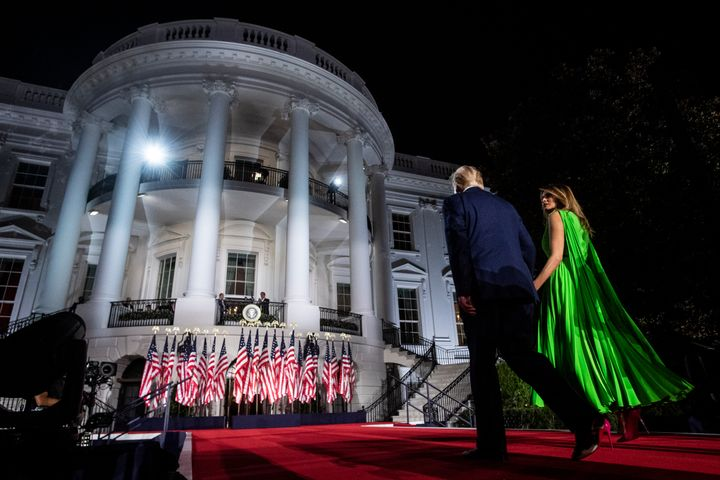 President Donald Trump and first lady Melania Trump at the White House on the last night of the Republican National Conventio