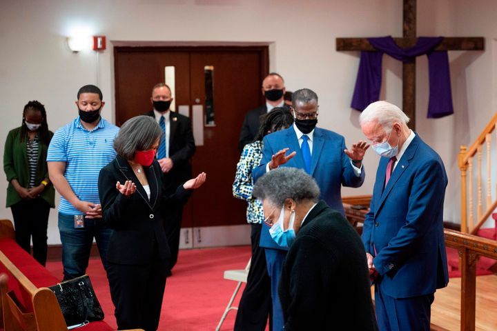 Biden joined clergy members and community activists in prayer at Bethel AME Church in Wilmington, Delaware, on June 1. Biden'