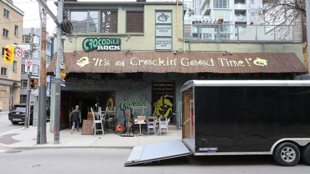 Equipment and furniture being removed from Crocodile Rock, a club in Toronto's entertainment district,...
