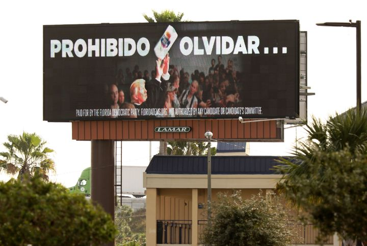 """In January, the Florida Democratic Party purchased a billboard reading """"Never Forget"""" in Spanish to remind Puerto Rican voter"""