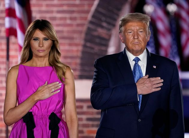 Donald y Melania Trump, en Baltimore (Maryland) el 26 de agosto de 2020 (Drew Angerer/Getty