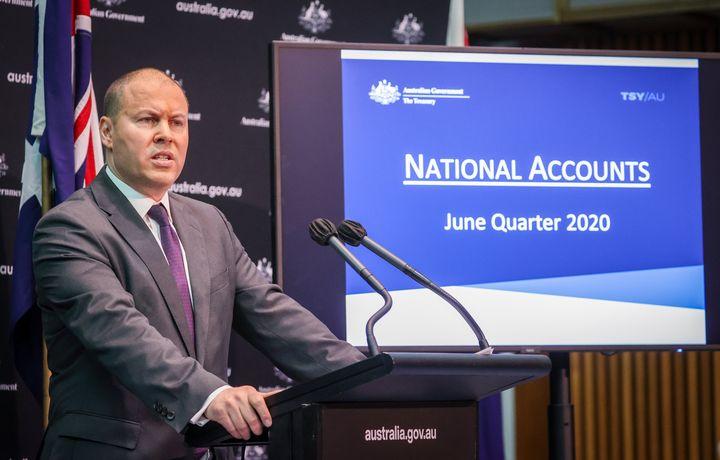 Treasurer Josh Frydenberg speaks during a media conference at Parliament House on September 2, 2020 in Canberra, Australia.