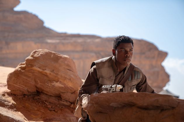 John in character as Finn in Star Wars: The Rise Of