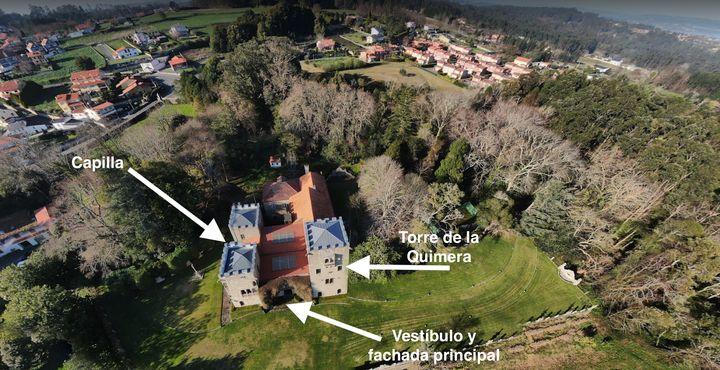 El Pazo de Meirás, visto desde arriba.