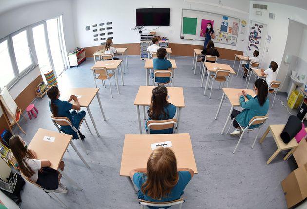 Ripartono le lezioni presso la world international school di Torino, 1 settembre 2020 ANSA/ALESSANDRO...